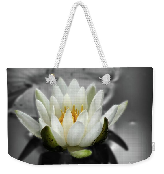 White Water Lily Black And White Weekender Tote Bag