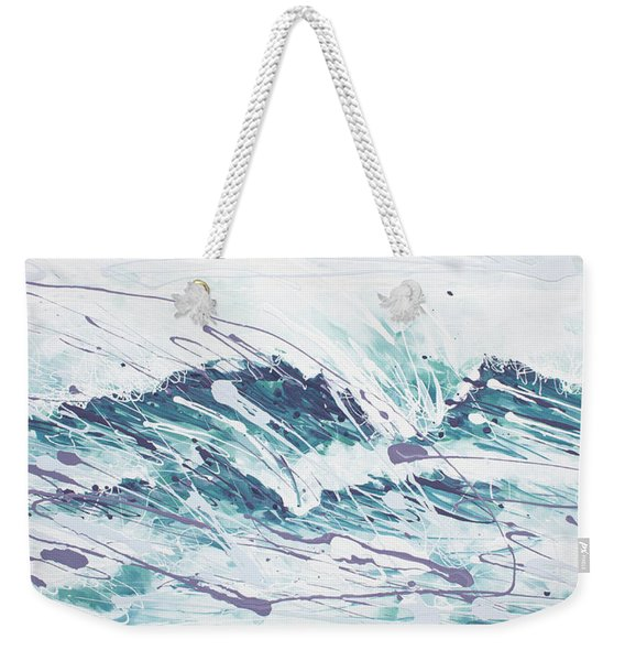White Wave Abstract Weekender Tote Bag