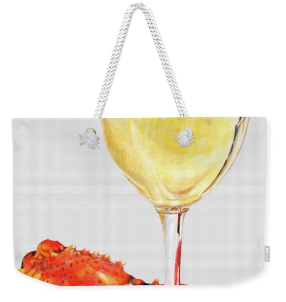 White Wine And Lobster Claw Weekender Tote Bag