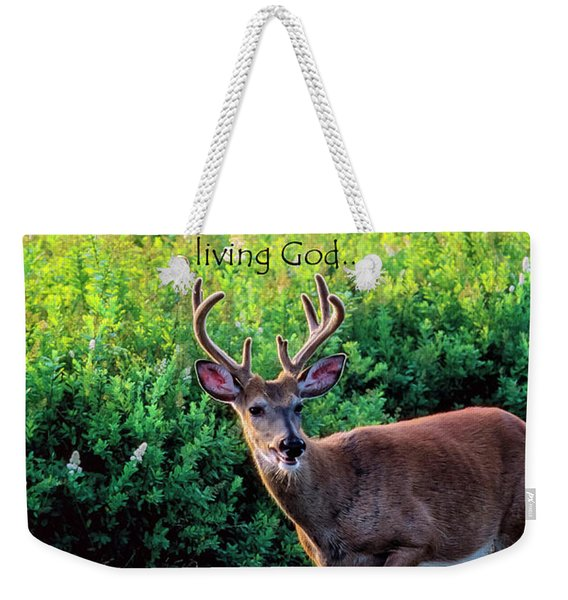 Whitetail Deer Panting Weekender Tote Bag