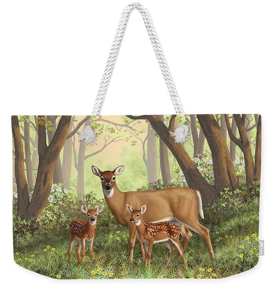Whitetail Doe And Fawns - Mom's Little Spring Blossoms Weekender Tote Bag