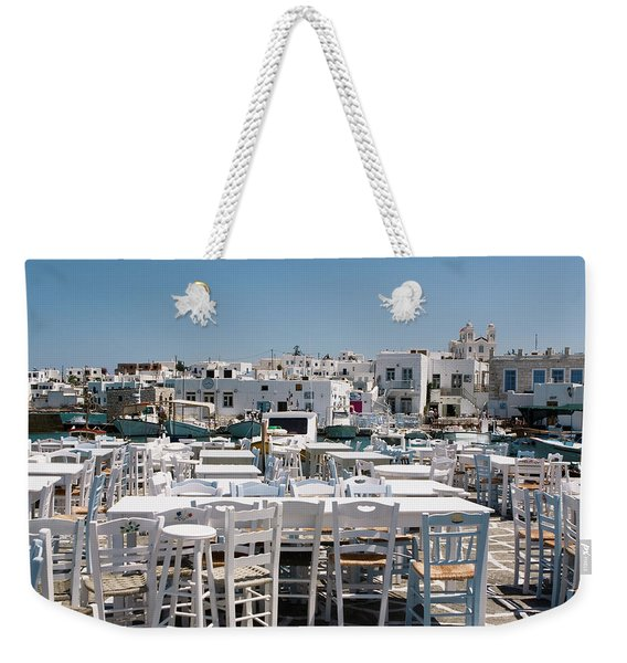 Weekender Tote Bag featuring the photograph Whitewashed Naoussa by Lorraine Devon Wilke