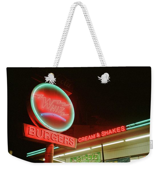 Weekender Tote Bag featuring the photograph Whiz Burgers Neon, San Francisco by Frank DiMarco