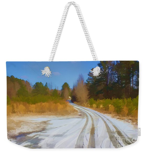 Snow Covered Lane Weekender Tote Bag