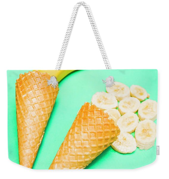 Whole Bannana And Slices Placed In Ice Cream Cone Weekender Tote Bag