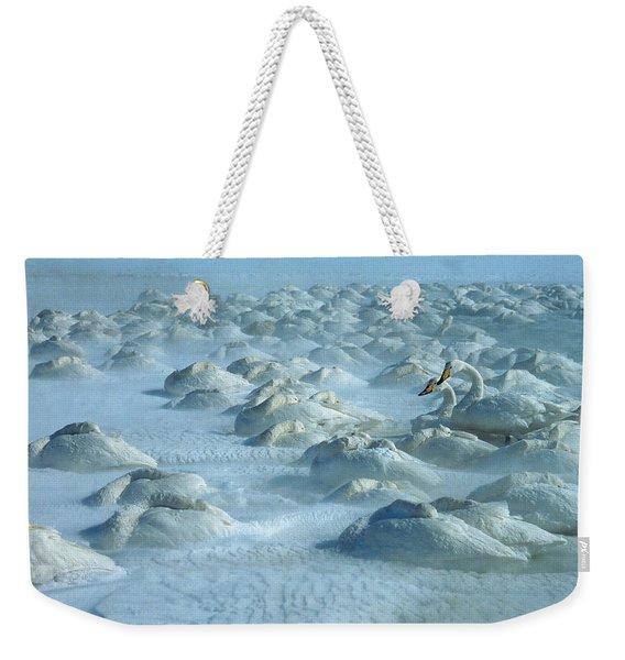 Whooper Swans In Snow Weekender Tote Bag
