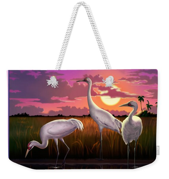 Whooping Cranes At Sunset Tropical Landscape - Square Format Weekender Tote Bag