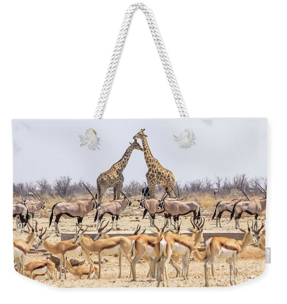 Weekender Tote Bag featuring the photograph Wild Animals Pyramid by Benny Marty