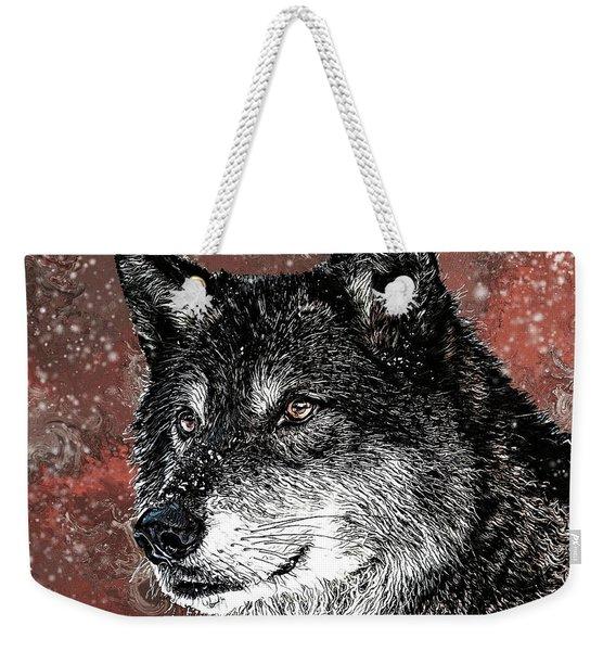 Wild Dark Wolf Weekender Tote Bag