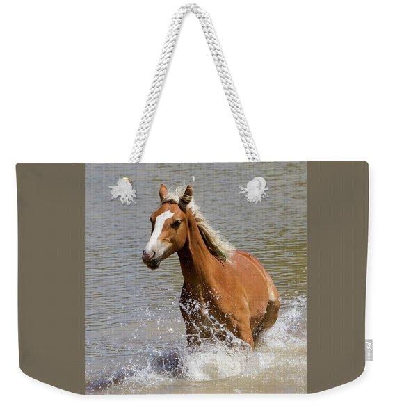 Wild Horse Splashing At The Water Hole Weekender Tote Bag