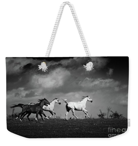 Wild Horses - Black And White Weekender Tote Bag