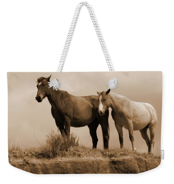 Weekender Tote Bag featuring the photograph Wild Horses In Western Dakota by Cris Fulton