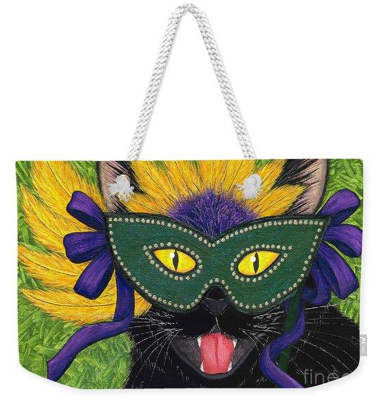 Wild Mardi Gras Cat Weekender Tote Bag