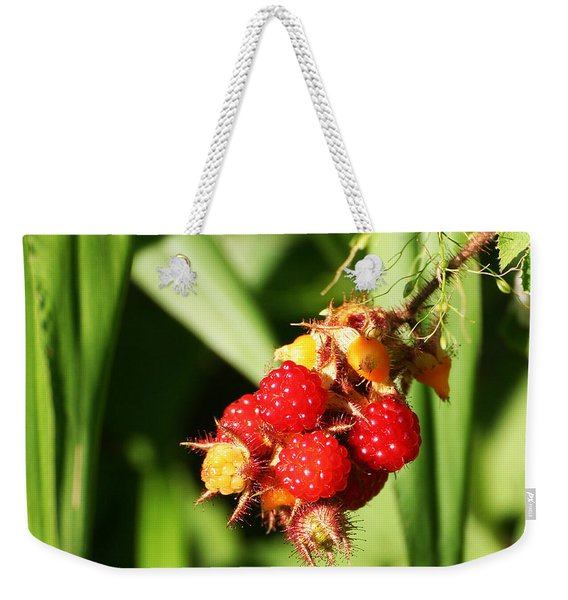 Weekender Tote Bag featuring the photograph Wild Raspberries by William Selander