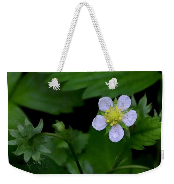 Wild Strawberry Blossom And Raindriops Weekender Tote Bag