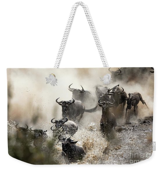 Wildebeest Herd Crossing The Mara River Weekender Tote Bag