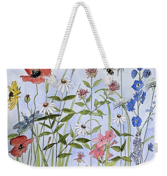 Wildflower And Blue Sky Weekender Tote Bag