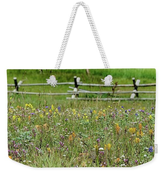 Wildflower Fence Weekender Tote Bag