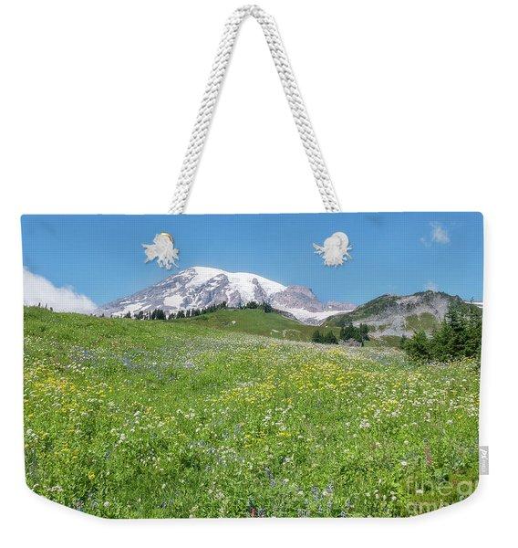 Wildflowers And Rainier Weekender Tote Bag