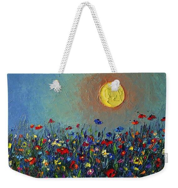 Wildflowers Meadow Sunrise Modern Floral Original Palette Knife Oil Painting By Ana Maria Edulescu Weekender Tote Bag