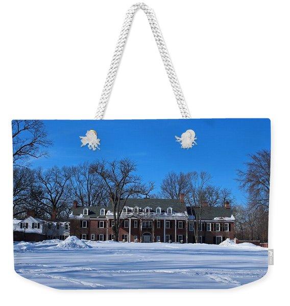 Wildwood Manor House In The Winter Weekender Tote Bag