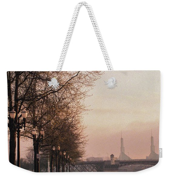 Weekender Tote Bag featuring the photograph Willamette Riverfront, Portland, Oregon by Frank DiMarco