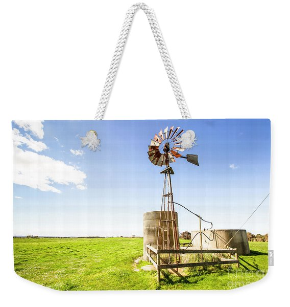 Wind Powered Farming Station Weekender Tote Bag