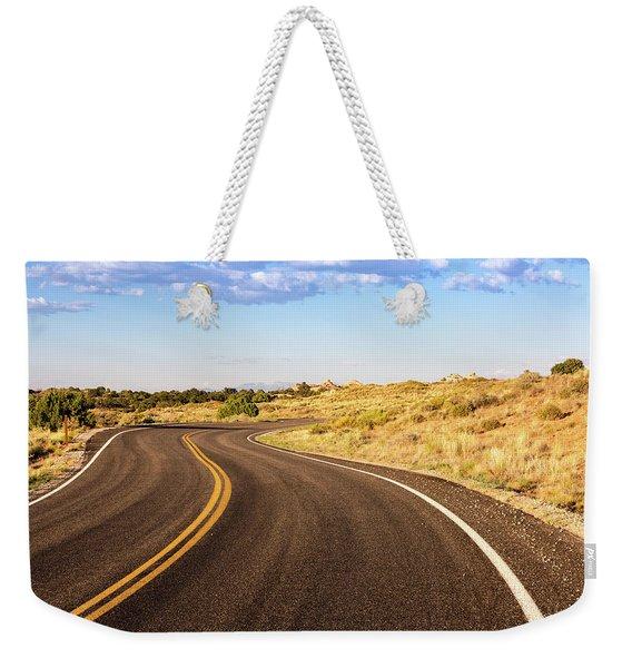 Winding Desert Road At Sunset Weekender Tote Bag