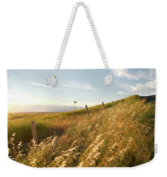 Windmill And The Fence Sundown Weekender Tote Bag