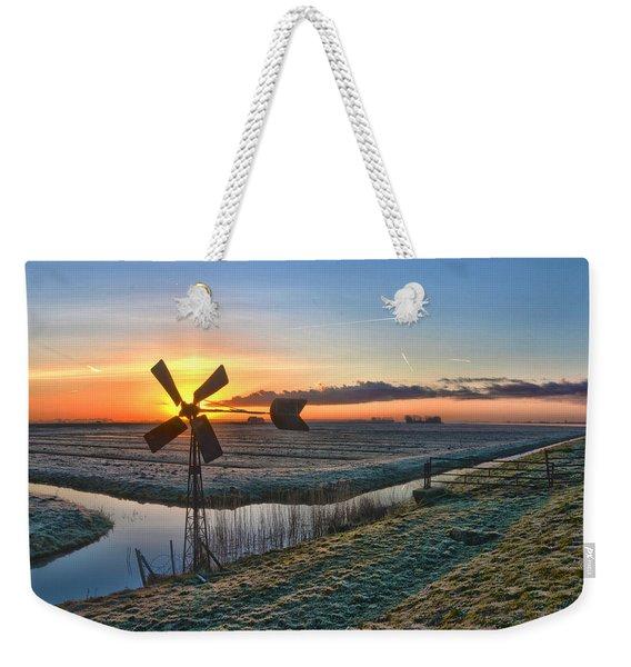 Windmill At Sunrise Weekender Tote Bag