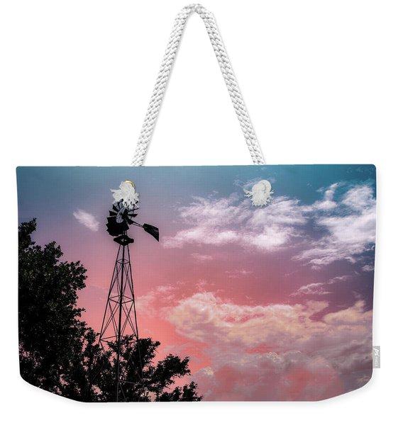 Windmill At Sunset Weekender Tote Bag