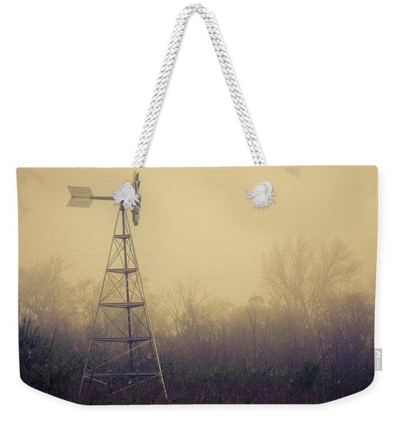 Windmill In The Foggy Dawn Weekender Tote Bag