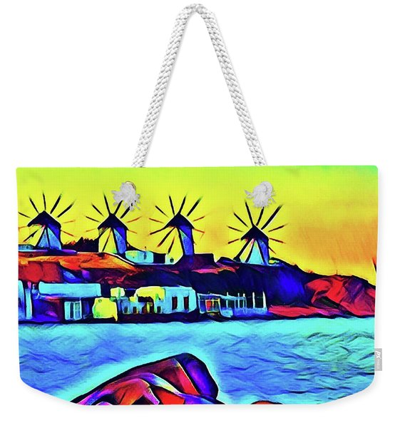 Windmills At Mykonos Weekender Tote Bag