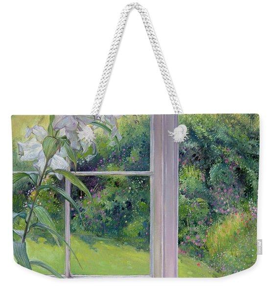 Window Seat And Lily Weekender Tote Bag