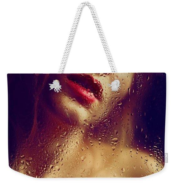 Window -  Sensual Woman Portrait Behind A Rainy Window Weekender Tote Bag