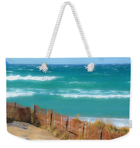 Windy Day On Lake Michigan Weekender Tote Bag