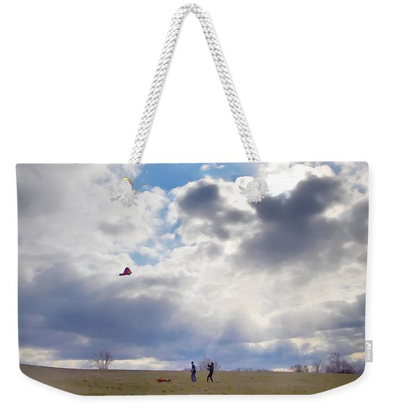 Windy Kite Day Weekender Tote Bag