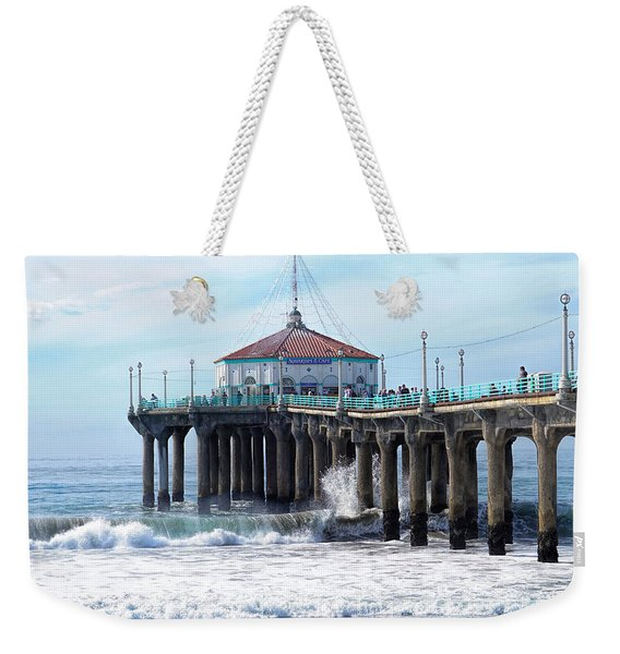Weekender Tote Bag featuring the photograph Windy Manhattan Pier by Michael Hope