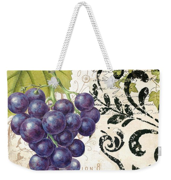 Wine Grapes And Damask Weekender Tote Bag