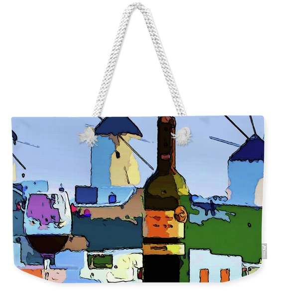 Wine In Mykonos Weekender Tote Bag