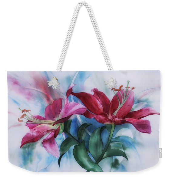 Wine Lillies In Pastel Watercolour Weekender Tote Bag