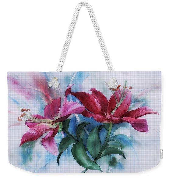 Wine Lillies In Pastel Watercolour Weekender Tote Bag