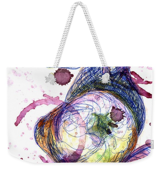 Weekender Tote Bag featuring the painting Wine Pearing by Ashley Kujan