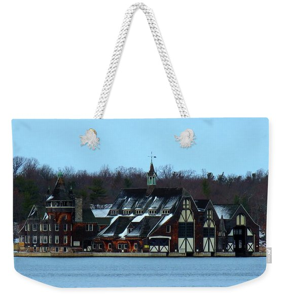 Snow On Boldt Castle Yacht House Weekender Tote Bag