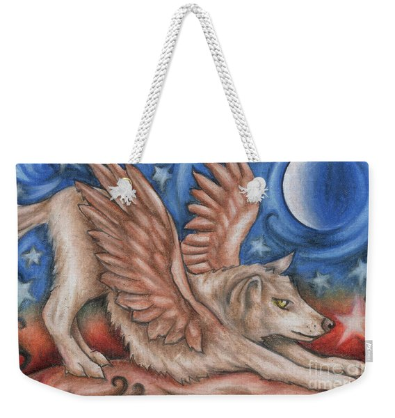 Weekender Tote Bag featuring the drawing Winged Wolf In Downward Dog Yoga Pose by Kristin Aquariann