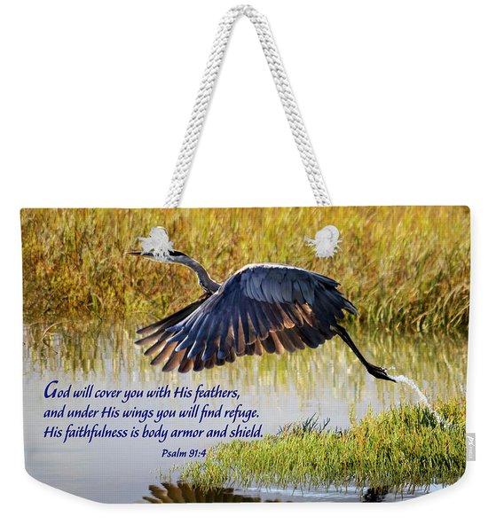 Wings Of Refuge With Scripture Weekender Tote Bag