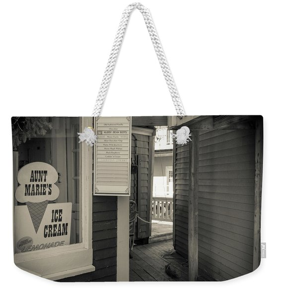 Winter At Aunt Marie's Ice Cream Stand Weekender Tote Bag