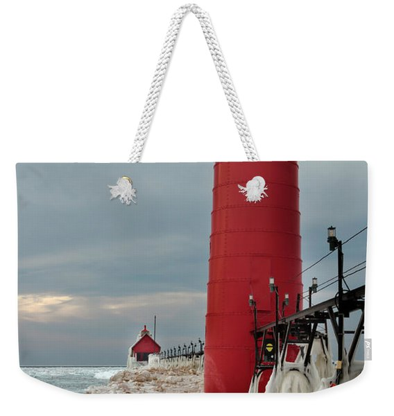 Winter At Grand Haven Lighthouse Weekender Tote Bag