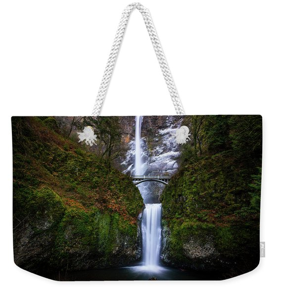 Winter At Multnomah Falls Weekender Tote Bag