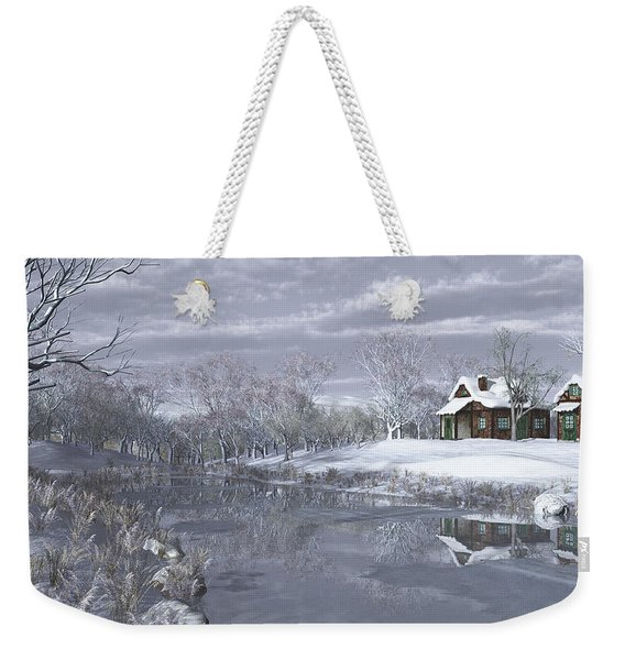 Winter At The Lake Weekender Tote Bag